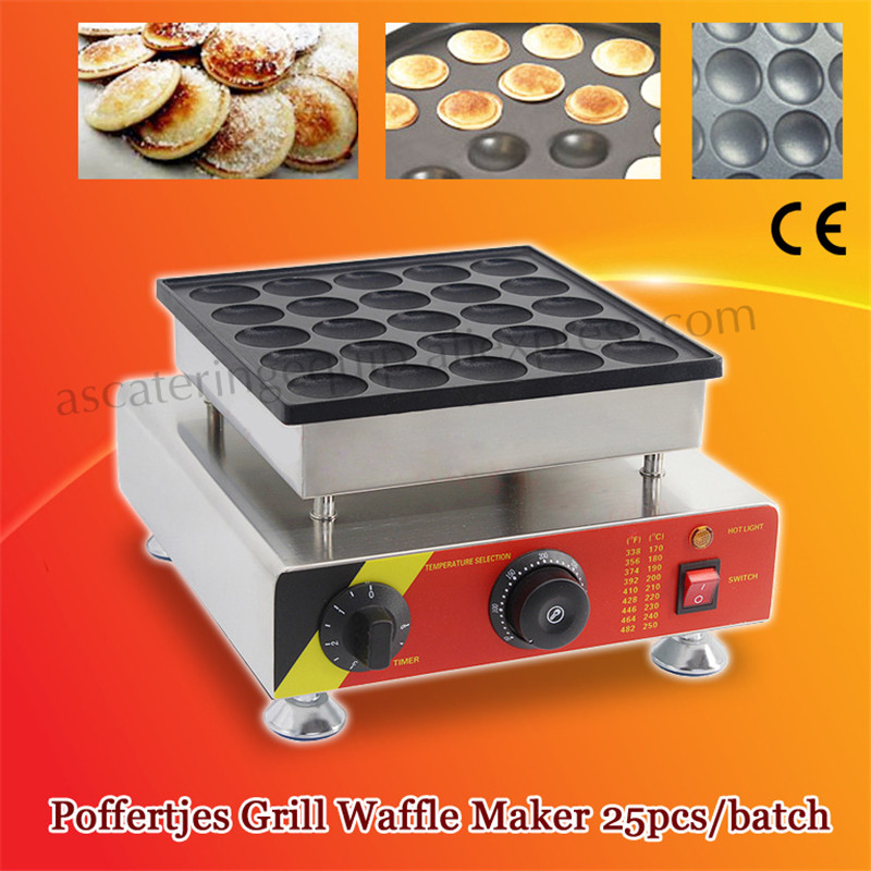 Commercial Nonstick Electric Mini Dutch Pancake Maker Poffertjes Grill Machine 25pcs/batch Stainless Steel 2017 electric 110v 220v 25 holes poffertjes grill dutch waffle maker mini pancake machine