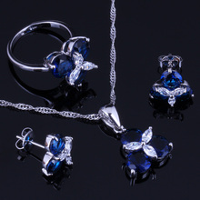 Elegant Blue Cubic Zirconia White CZ 925 Sterling Silver Jewelry Sets Earrings Pendant Chain Ring Size 6 7 8 9 10 V0002