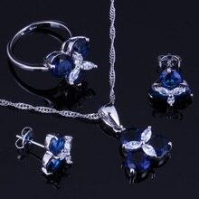 אלגנטי כחול מעוקב Zirconia לבן CZ 925 כסף סטרלינג תכשיטי סטי עגילי תליון שרשרת טבעת גודל 6 7 8 9 10 V0002