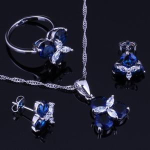 Image 1 - אלגנטי כחול מעוקב Zirconia לבן CZ 925 כסף סטרלינג תכשיטי סטי עגילי תליון שרשרת טבעת גודל 6 7 8 9 10 V0002
