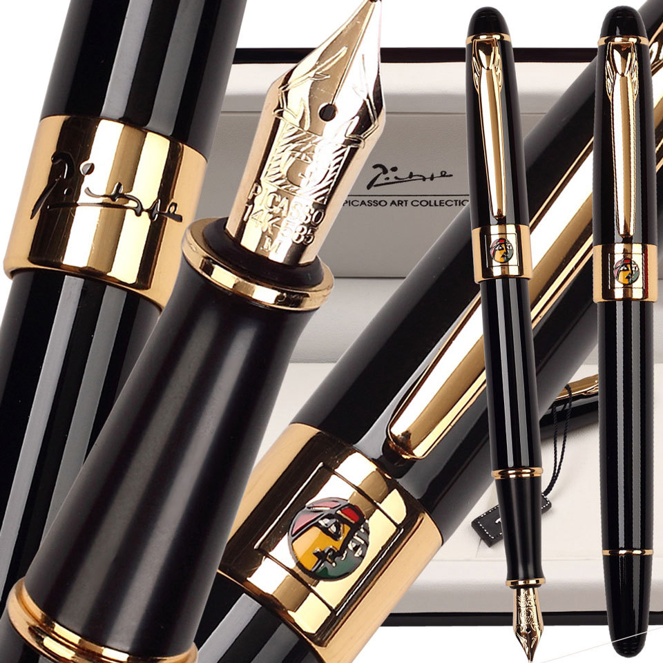 8pcs/lot wholesale Fountain Pen Black M 14 K Solid Gold Nib  or RollerBall pen Picasso 89 Big Executive stationery Free Shipping