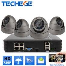Techege 4CH PoE 15 V Sistema de Vigilancia NVR Sistema CCTV 720 p cámara ip PoE NVR Grabador Kit de Sistema de Sistema de cámara