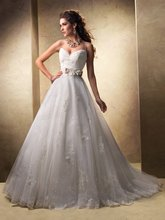 casamento bridal gown belt vestido de noiva sexy new fashionable 2014 design romantic appliques wedding dress free shipping