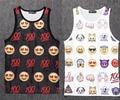 RuiYi Hombres tank top fashion 3D QQ emoji cara Chaleco jersey culturismo sin mangas Hombre verano 100 emoticon de hip hop tee