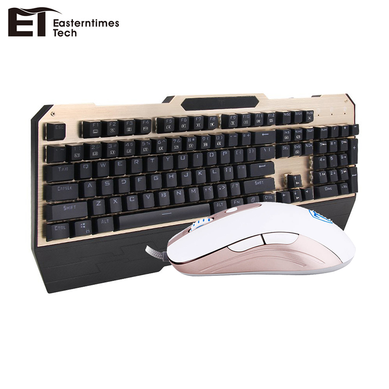 ET Blue Switch Mechanical Keyboard Anti-Ghosting Waterproof Keyboard Mouse Combo Optical Wired USB LED Backlight Mouse Gamer