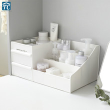 Desktop Solid Color Drawer Cosmetic Storage Box Large Plastic Dormitory Dressing Table Stationery Organizer Case Home Makeup