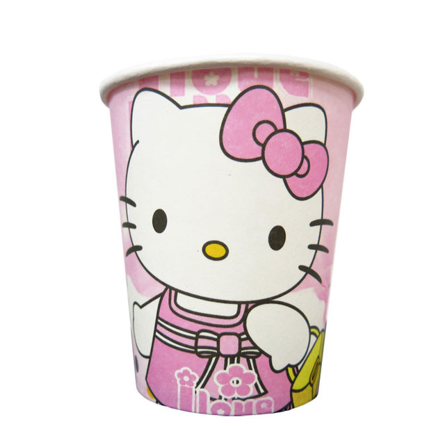 Birthday paper cup girl birthday eco-friendly disposable paper cup halloktty cat
