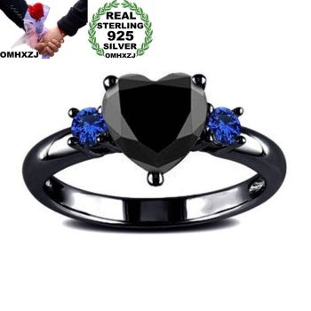 OMHXZJ Wholesale European Fashion Woman Girl Party Wedding Gift Heart Black Blue AAA Zircon 925 Sterling Silver Ring RR361