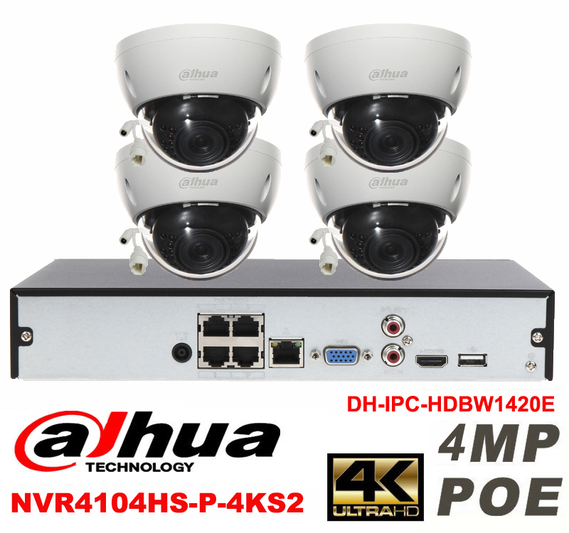 Dahua original 4CH 4MP H2.64 DH-IPC-HDBW1420E 4pcs Dome IP CCTV security camera POE DAHUA DH-NVR4104HS-P-4KS2 Network camera kit картридж hp inkjet cartridge 90 black c5058a