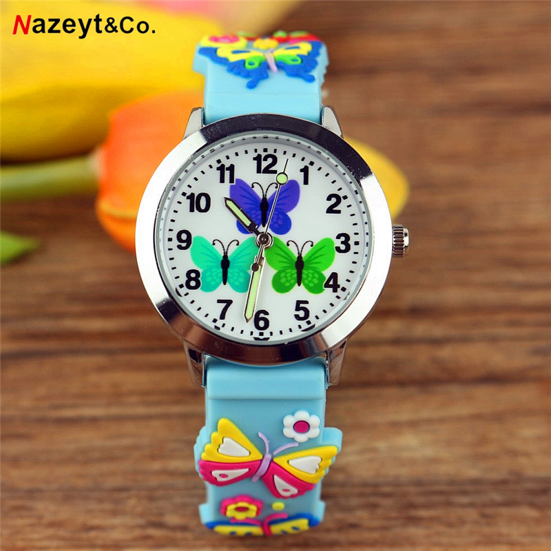 Dropshipping Children Watch Little Student Cute 3D Annimal Luminous Hands Gift Clock Boys Girls Butterfly Dial Soft Jelly Watch