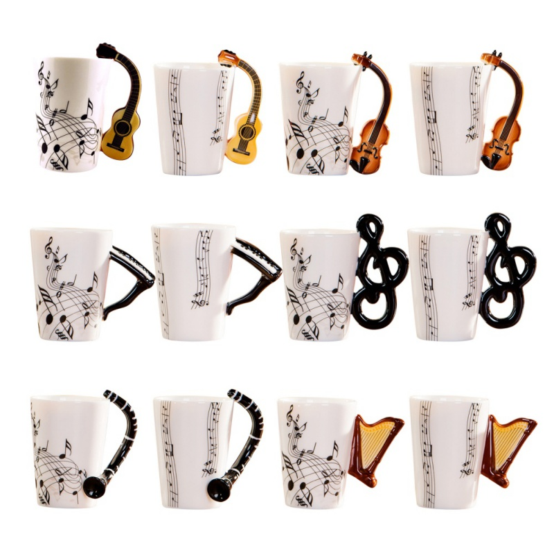 New Style Creative Novelty Guitar Ceramic Cup Personality Music Note Sensitive Mug Cup Coffee Tea Milk Cup Unique Gift