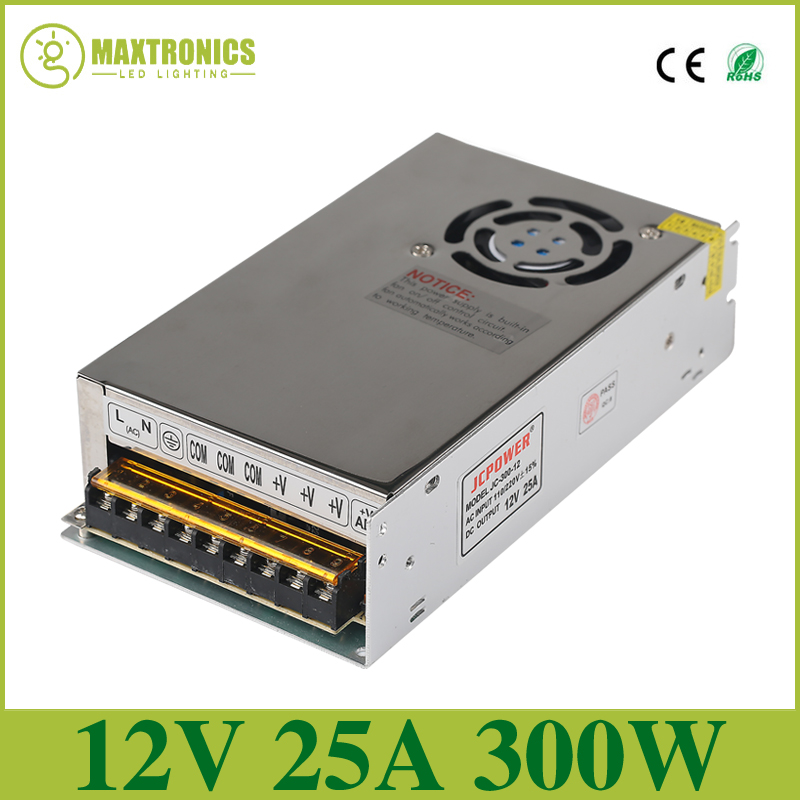 2016 Best quality 12V 25A 300W Switching Power Supply Driver for LED Strip AC 110-240V Input to DC 12V Free shipping best quality 12v 15a 180w switching power supply driver for led strip ac 100 240v input to dc 12v