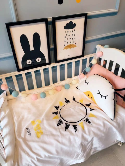 Cotton Cartoon Images Sun Rain Pattern Mulberry Silk Quilt Baby Crib Child Paternity   Air Conditioning  Silk Quilt 1Pcs