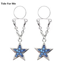 2PCS New Sexy Blue Star Non Pierced Clip On Fake Nipple Ring Body Jewelry Shield Cover Clamps Adult Sex Toy Piercing Adjustable