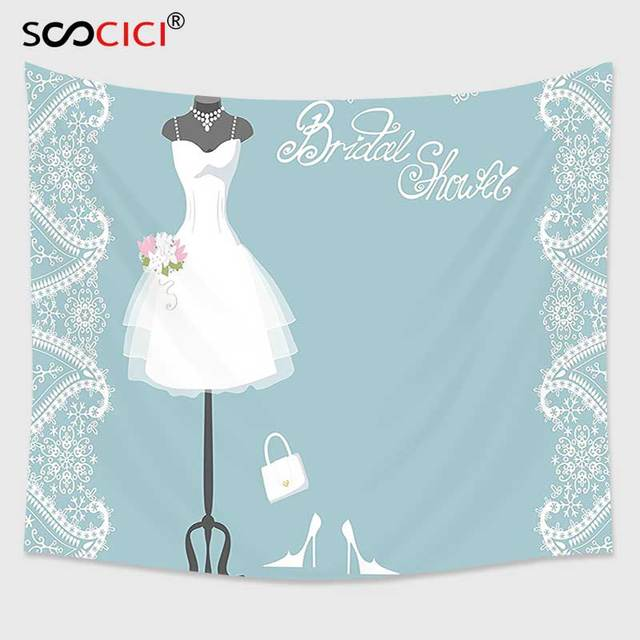 cutom tapestry wall hangingbridal shower decorations vintage french inspired bride dress with floral frames