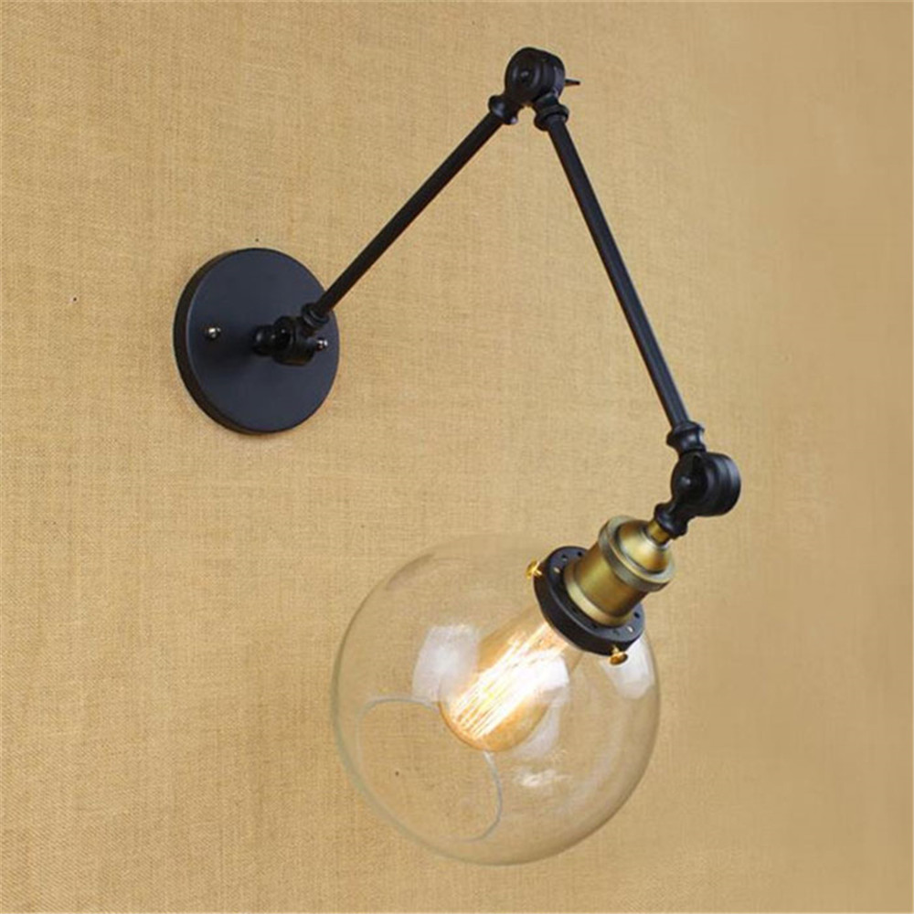 Art Decor nordic lamp swing arms wall lights Clear Globe Ball glass ...
