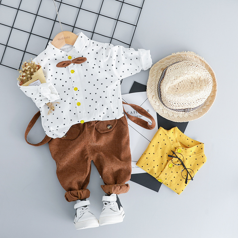 Spring one year birthday newborn Baby Boy Clothes Outfits Fashion Polka Dot Set for infant Baby Boys shirts suit Clothing Set