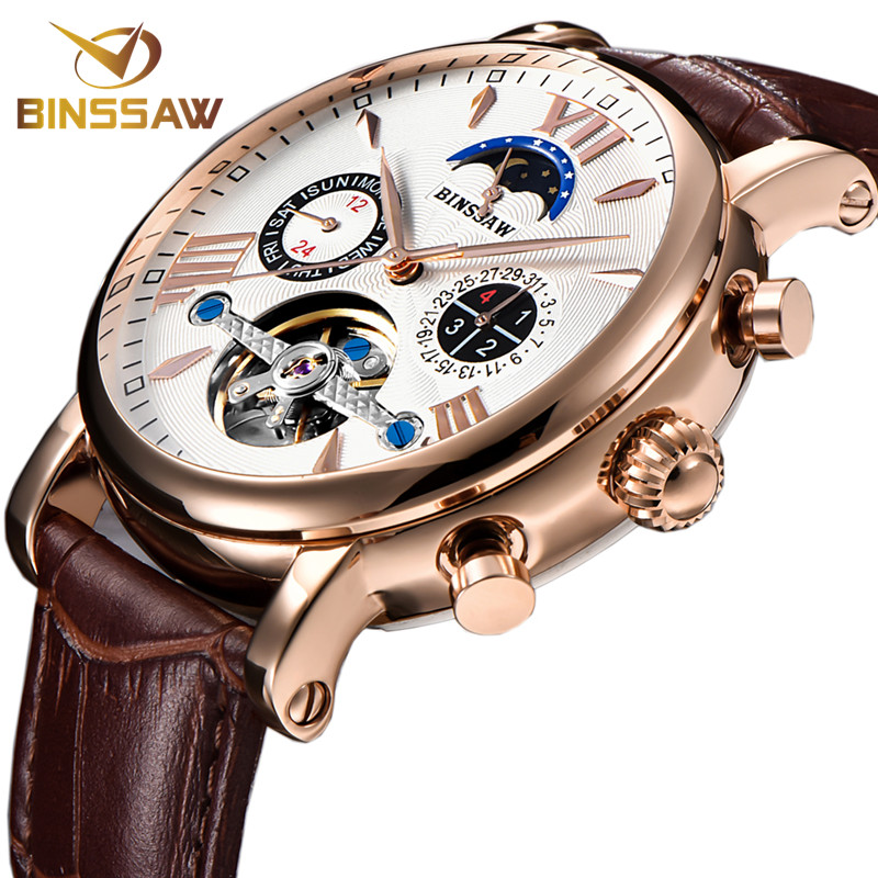 BINSSAW Men Automatic Mechanical Tourbillon Watch Business Casual Leather Calendar Moon Phase Sports Watches Relogio Masculino цена