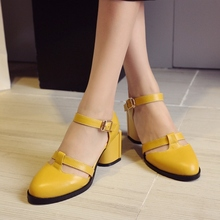 Yellow Red Black Cowhide Round Toe Ankle Buckle Thick High Heels Women Pumps 2016 Newest Beautiful Hot Sale Banquet Shoes