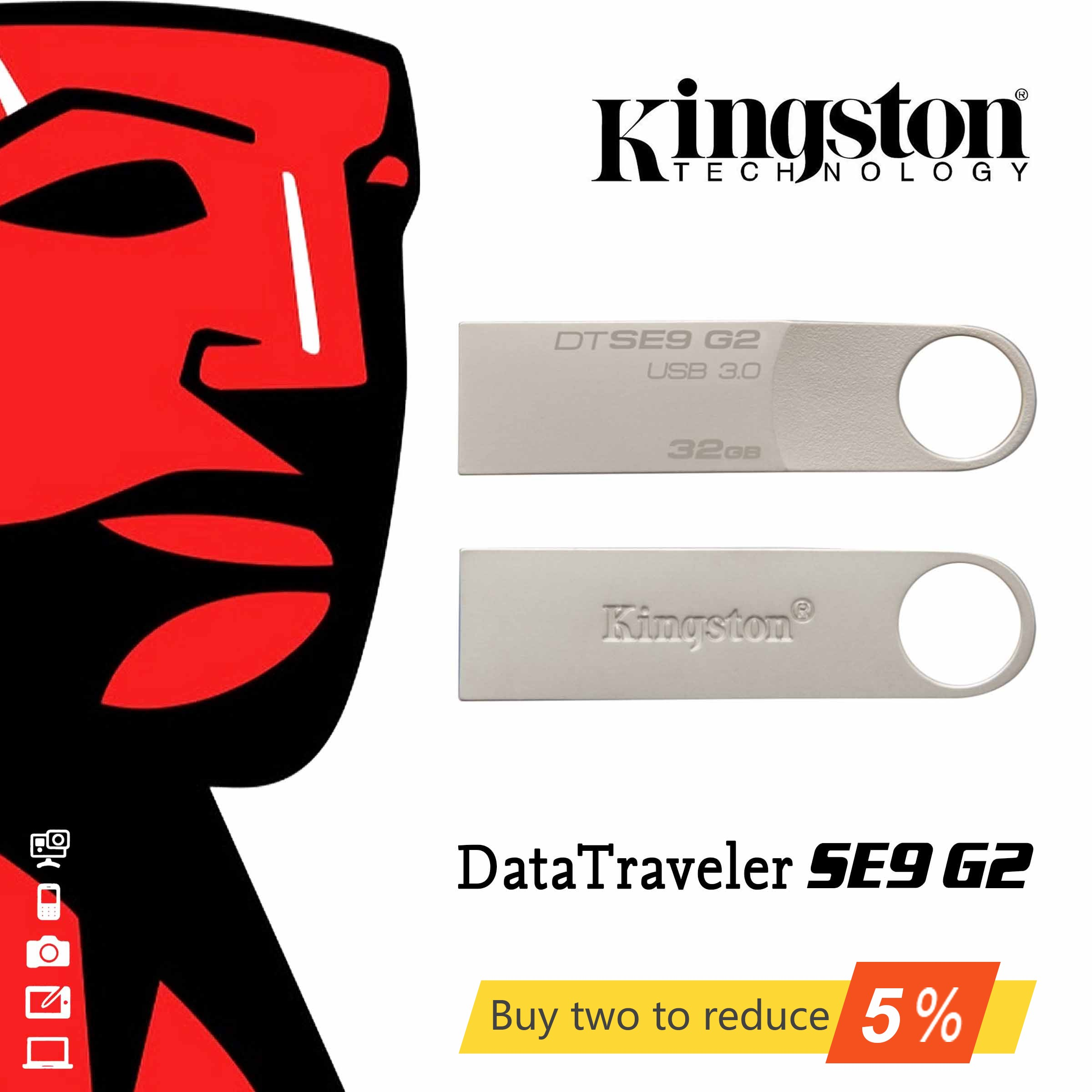Original Kingston Usb Flash Drive USB 3.0 DataTraveler SE9G2  Flash Disk 16GB/32GB/64GB DTSE9G2 Metal 3.0 U Disk