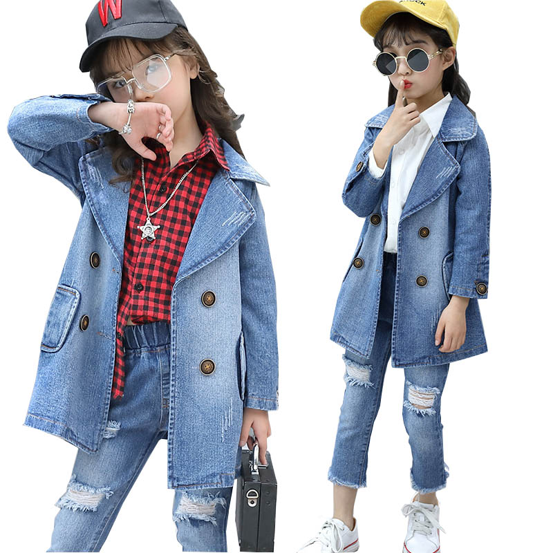 Girls clothing sets girls fashion suit teenage girls jeans suit 4-14 years school children clothes kids clothes tracksuit 2pcs wholesale kids clothing 2018 toddler girls summer clothing beach mermaid swimsuit teenage girls clothes for 10 years bikini suit