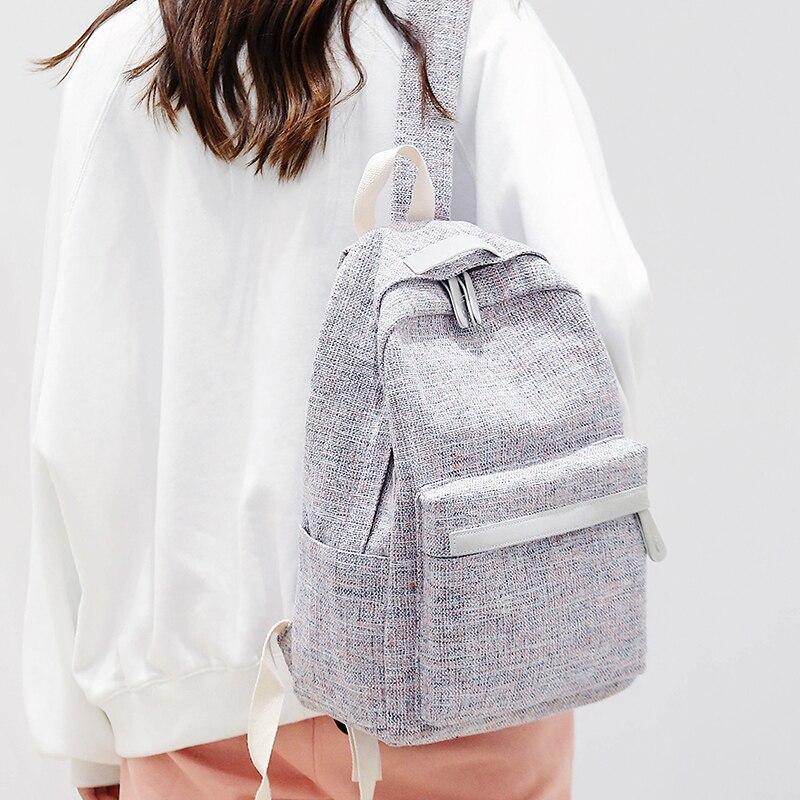 DCIMOR New Winter Women Linen Backpack Schoolbag female stud