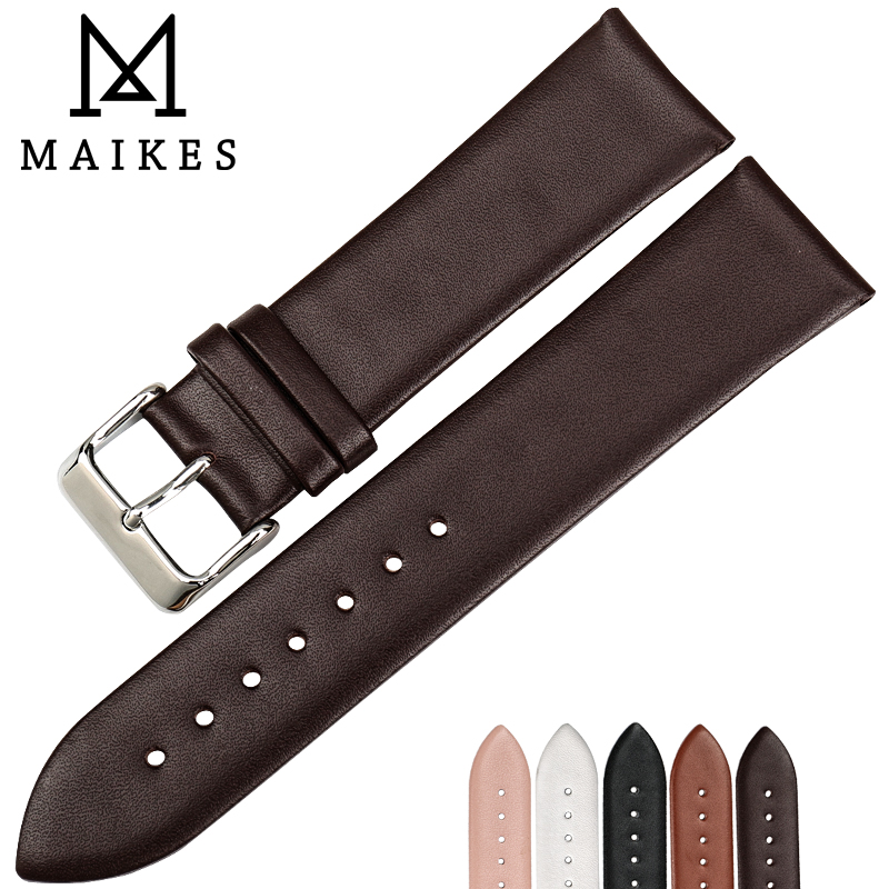 MAIKES Brown Thin Watch Strap Genuine Leather Watchband Watch Bracelet Watch Accessories For DW Daniel Wellington Watch Band maikes 18mm 20mm 22mm watch belt accessories watchbands black genuine leather band watch strap watches bracelet for longines