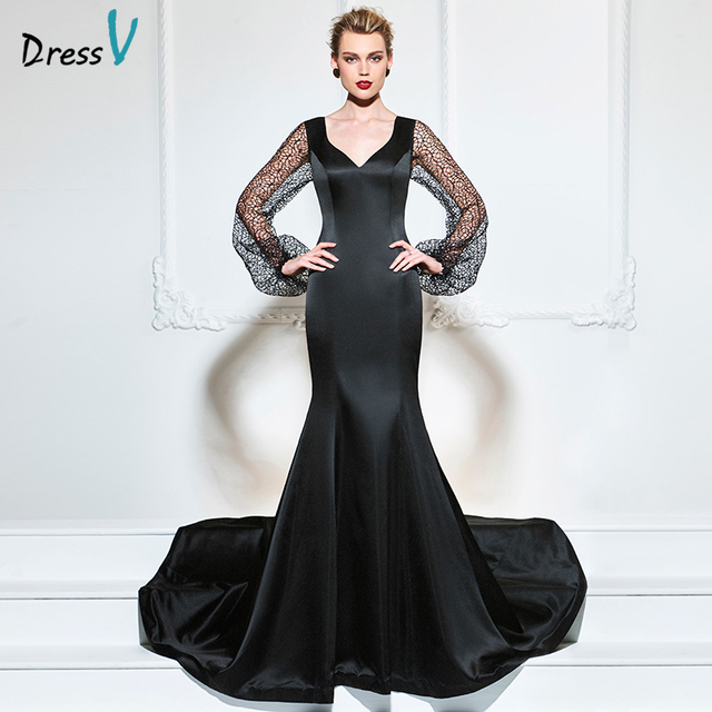 b61d75433284 Dressv 2017 nero abito da sera lungo maniche trasparenti sexy mermaid v neck  corte dei treni