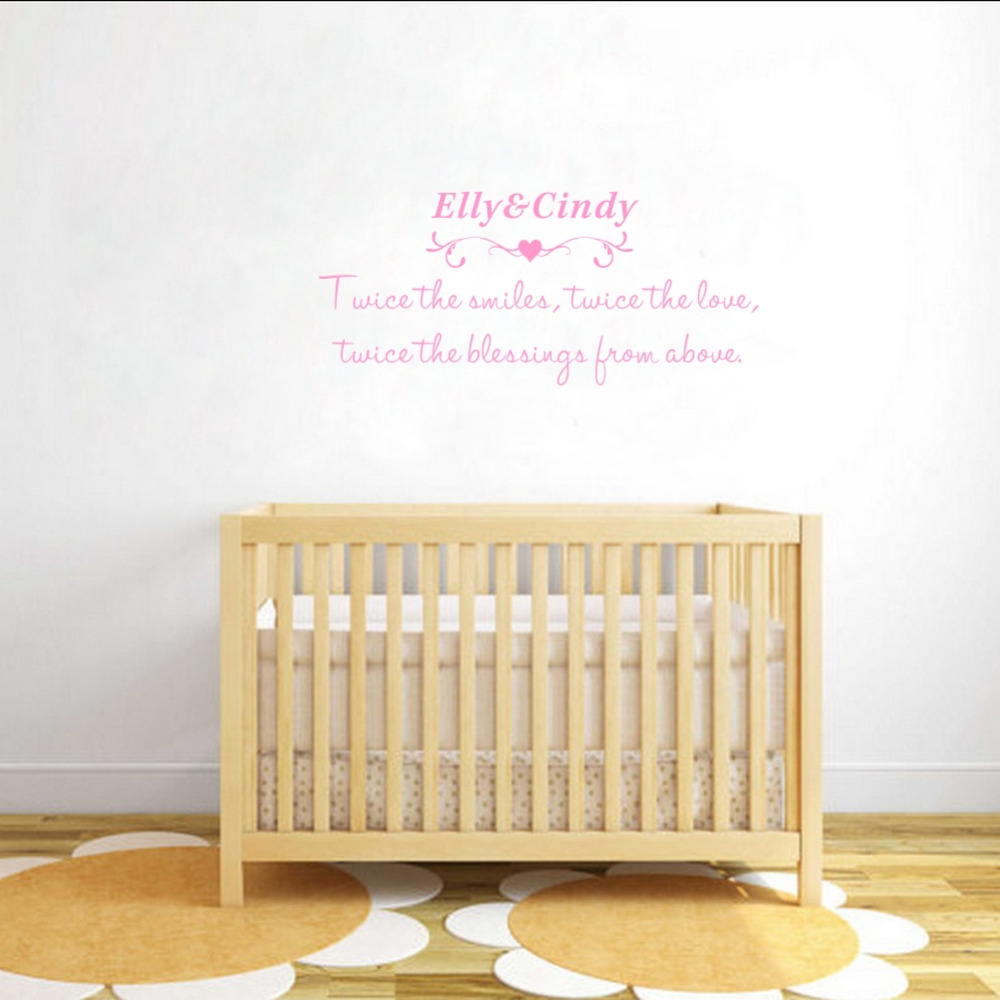 Custom Two Baby Names Wall stickers Love Creative Wall Decals for ...