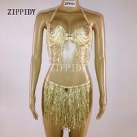 Glisten Gold Sequins Tassel Chains Bra Short Bikini Costume Nightclub Party singer Outfit Two piece Costume Rhinestones Swimwear