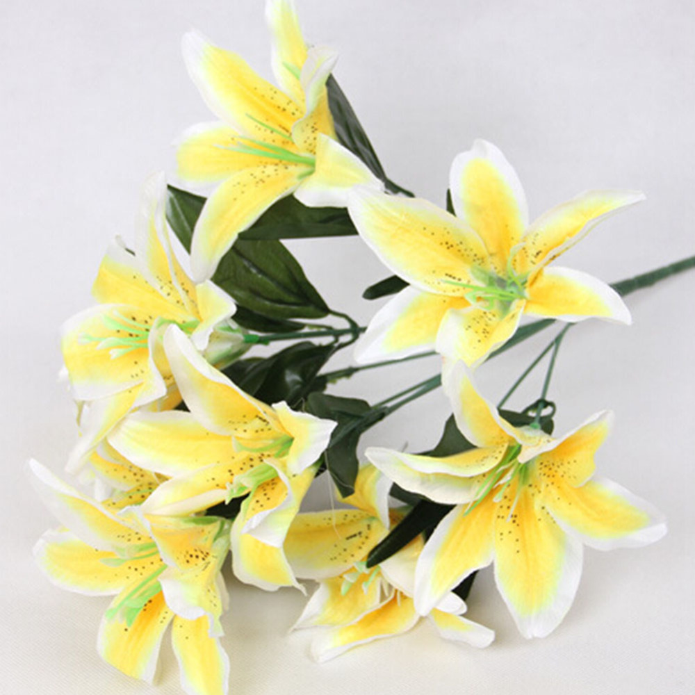 1 dozen leafy artificial silk lily flowers flower natural real touch 1 dozen leafy artificial silk lily flowers flower natural real touch bridal bouquet wedding home decor wedding gift g in artificial dried flowers from izmirmasajfo Image collections