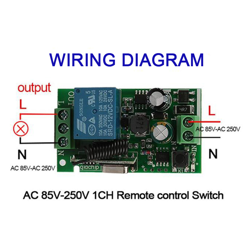 QIACHIP 433Mhz Wireless Remote Control Switch AC 110V 220V 1CH RF Relay Receiver Module 433 Mhz Transmitter Remote Control DIY in Remote Controls from Consumer Electronics