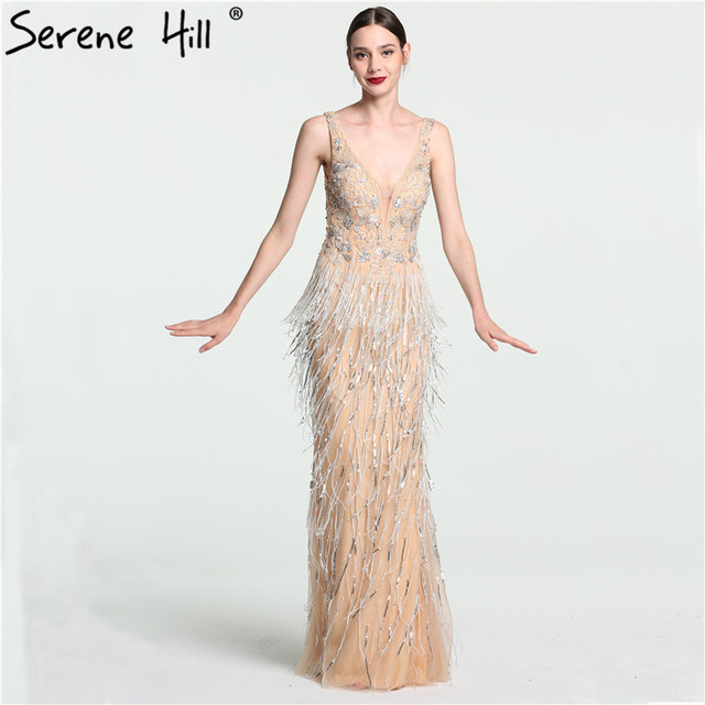 Sexy Deep-V Mermaid Gold Tulle Evening Dresses Newest Beading Sequined Luxury Evening Gown 2018 Serene Hill LA6104