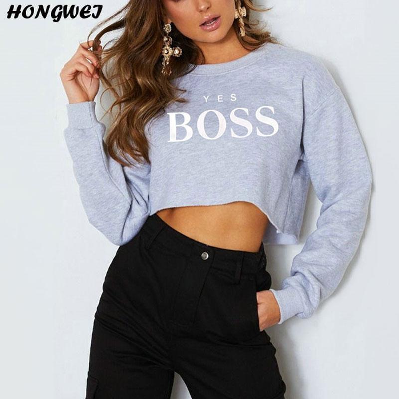Letter Prints Crop Hoodie Sweatshirt Women 2019 New Spring Casual Fashion Long Sleeve Casual Cropped Sweatshirt Pullover