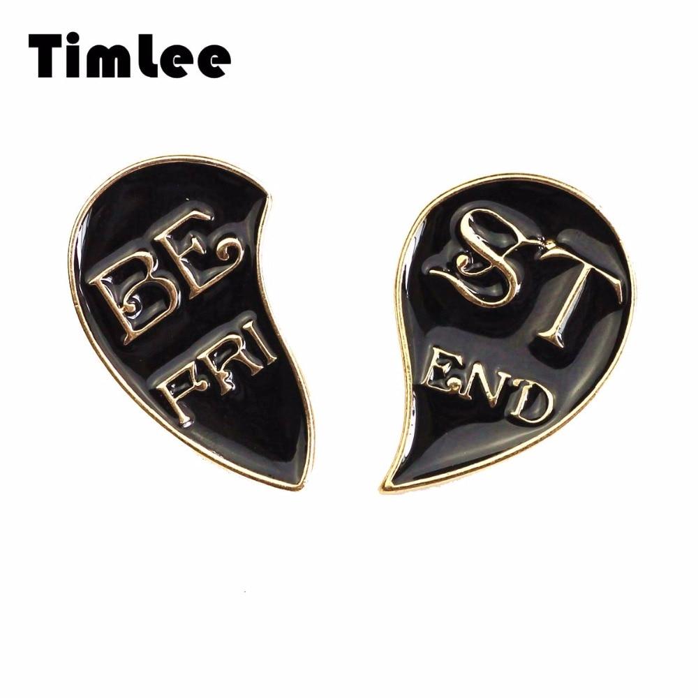 Timlee X290 Nová kreativní polovina srdce Smalt Pin Partners Metal Brooch Pins Nejlepší přítel Dopis Dárky