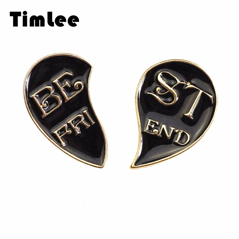 Timlee X290 New Half Heart Creative Half Enamel Pin Partnerët Metal - Bizhuteri të modës