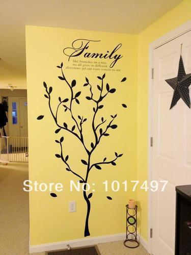 Free Shipping 192cm x 147cm family large tree branches vinyl home ...