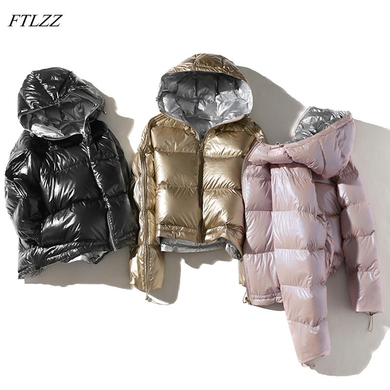 FTLZZ Femmes Double Face Argent Vers Le Bas Parkas Manteaux Hiver Lady Capuche Blanc Duvet de Canard Veste de Neige Imperméables Survêtement