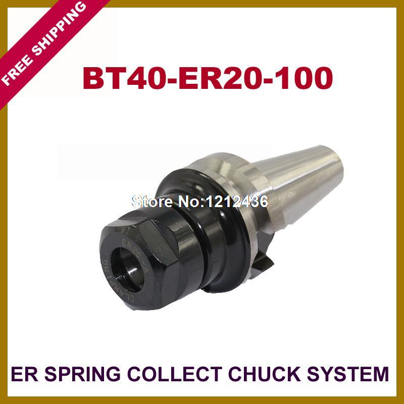 Free Shipping BT40-ER20-100 ER Spring Collet Chuck Toolholder System Working On CNC Milling Machine термостат grohe grohtherm 3000 cosmopolitan 19568000