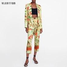 2019 New vintage 2 Piece Set Women Long Sleeve Office Blazer Jacket and Nine Pants Women's Suit Spring autumn Print Pant Suits цена