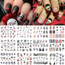 New 12 Styles Water Transfer Nail Art Stickers Full Cover Decals Halloween Skull&Face Makeup Design DIY Decoration BN193-204