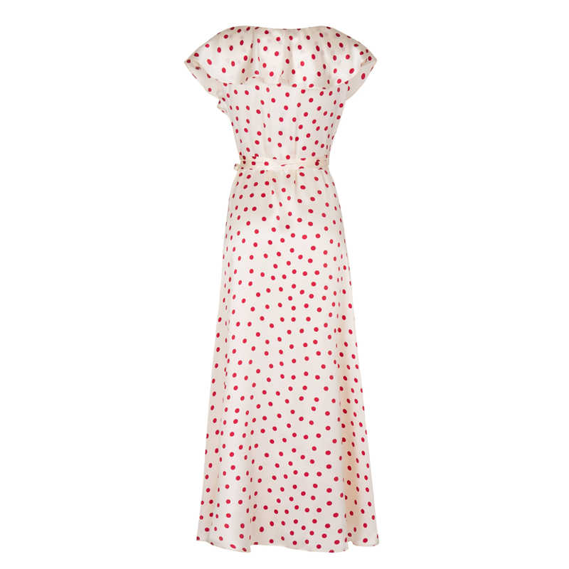 Европейское дизайнерское платье для подиума 2019 летнее женское высококачественное Винтажное с v-образным вырезом красное плиссированное длинное платье в горошек с оборками