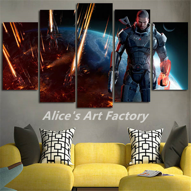 5Piece Wall Art Canvas Picture Wall Painting Mass Effect Posters ...