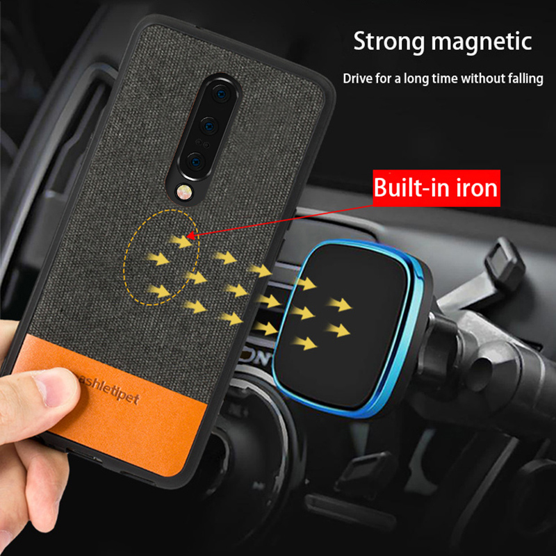 Men business Magnetic case for oneplus 7 Pro fabric shockproof Car Holder case cover original one plus 6 6t 5 5t 7Pro Housing