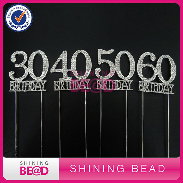 FREE SHIPPING30 40 50 60th Birthday Cake Topper For Party Anniversary Partynumber Rhinestone