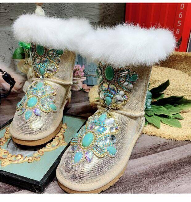 Bohrer Fleece Antiski Fuchs Gold boden Stiefel Schuhe Die Neuesten ended Pelz Kuh Wmoen 2019 Baumwolle Runde Boden In Europäischen Flache PqwFSnFYxt