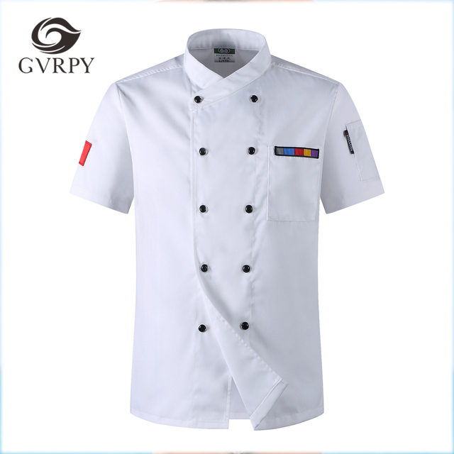 86560b63192 5 Colors Hot Sale Unisex Kitchen Chef Uniforms Short Sleeve Breathable  Double Breasted Jackets Food Services