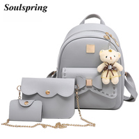 Fashion 3Pcs Bow Pu Leather Backpack Women Bag School Backpacks For Teenage Girls Black Composite Bags