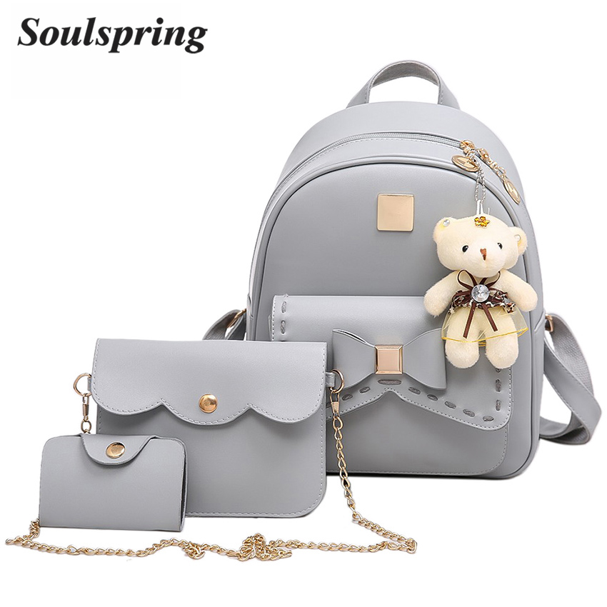 Fashion 3Pcs Bow Pu Leather Backpack Women Bag School ...