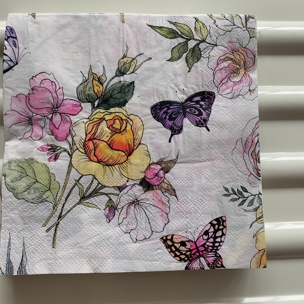 Image 5 - Decoupage table paper napkins elegant tissue vintage towel flower butterfly stamp birthday wedding party home beautiful decor 20-in Disposable Party Tableware from Home & Garden